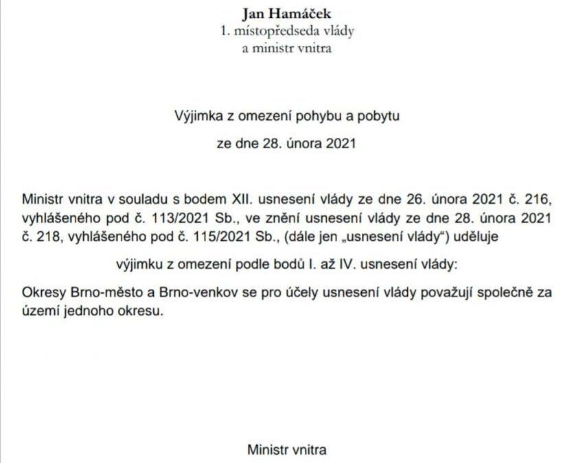 Brno-město a Brno-venkov budou sloučené do jednoho okresu. Obce by byly paralyzované